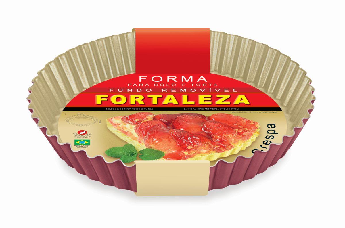 Forma para Bolo e Torta Crespa com Fundo Removível Cereja