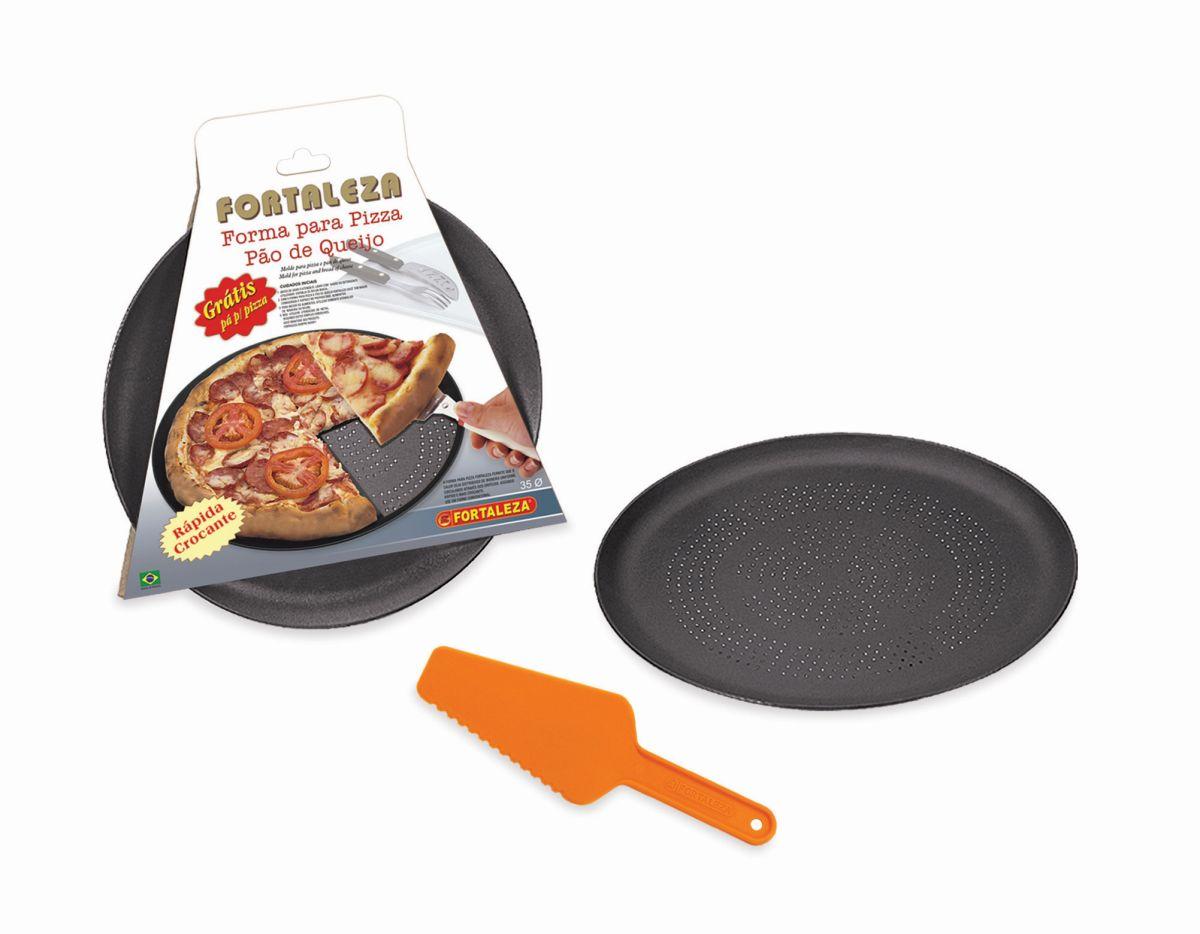 Forma Pizza Italiana 35 Furada Black - Grátis Pá