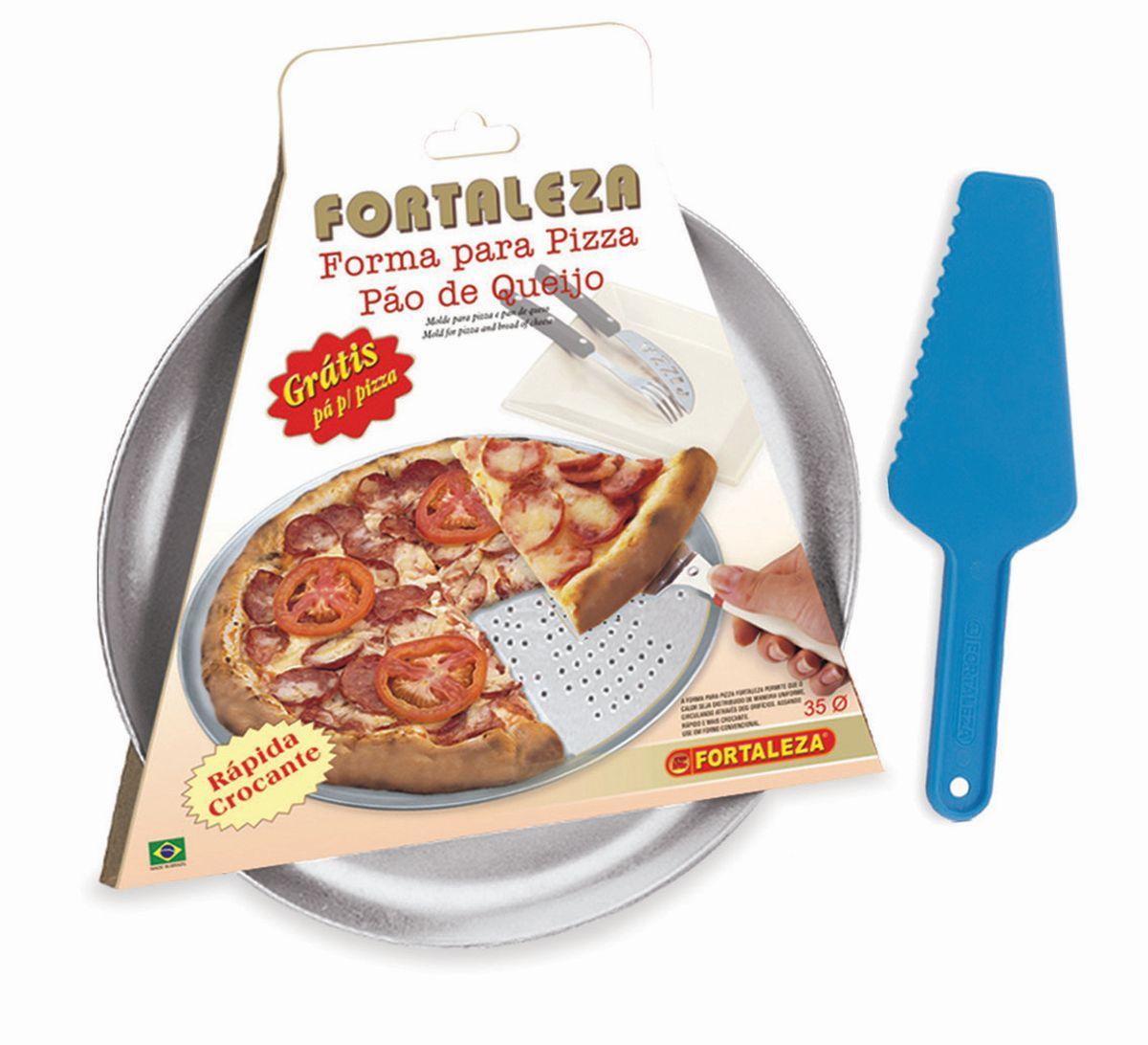 Forma Pizza Italiana 35 Furada Polida - Grátis Pá
